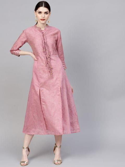 Women Pink Solid Midi A-Line Dress