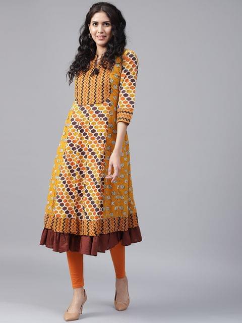 Yufta Women Mustard Yellow Brown Printed Anarkali Kurta