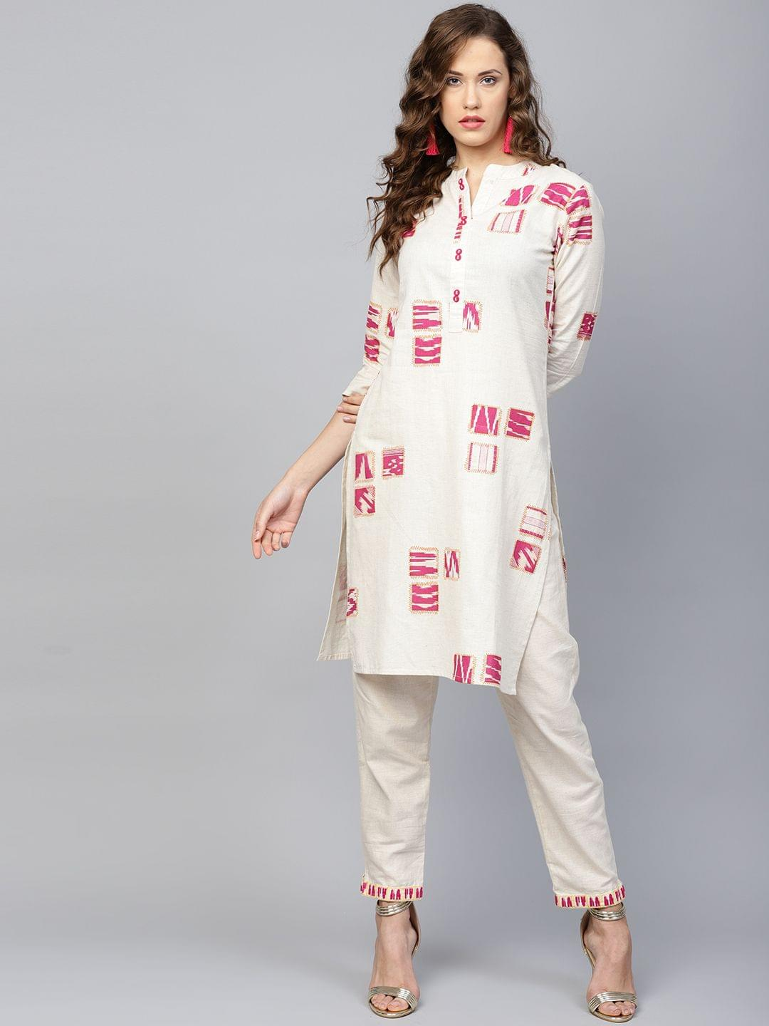 Yufta Women Off-White & Magenta Printed Kurta with Trousers