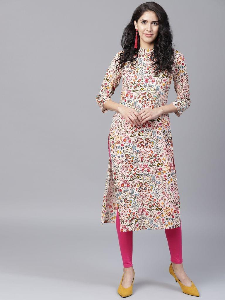 Yufta Women Multicoloured Printed Straight Kurta