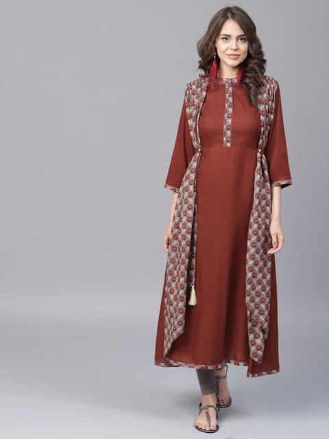 Yufta Women Rust Red Printed Layered A-Line Kurta