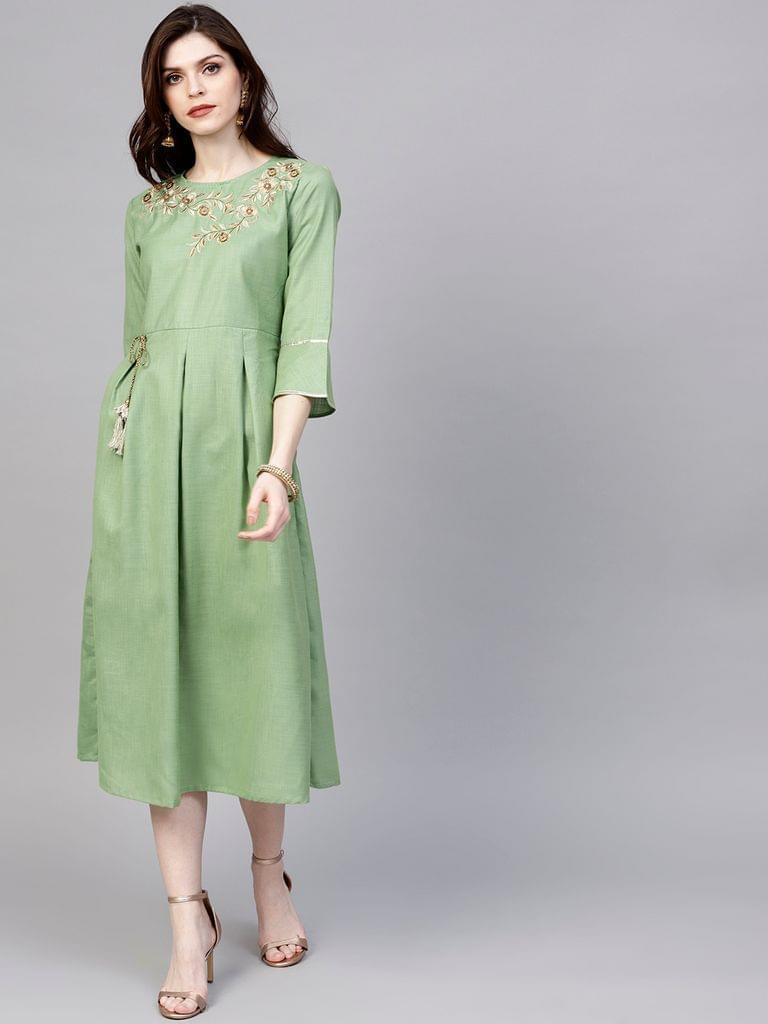 Women Green Solid A-Line Dress