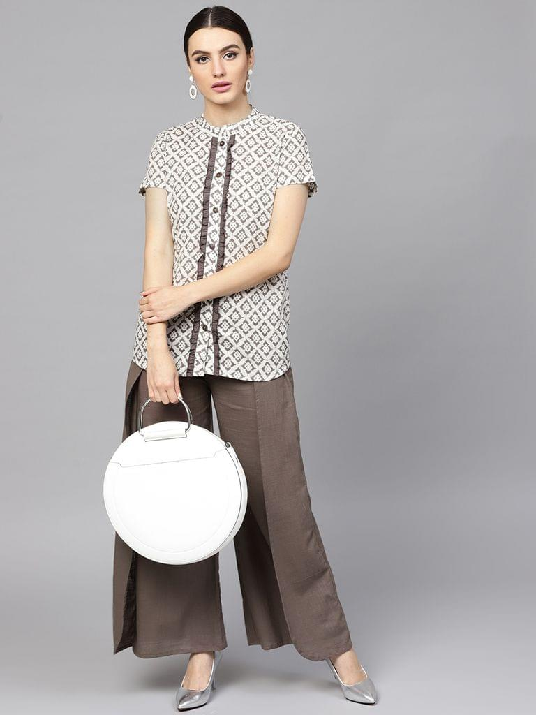 Women White & Grey Printed Tunic with Palazzos