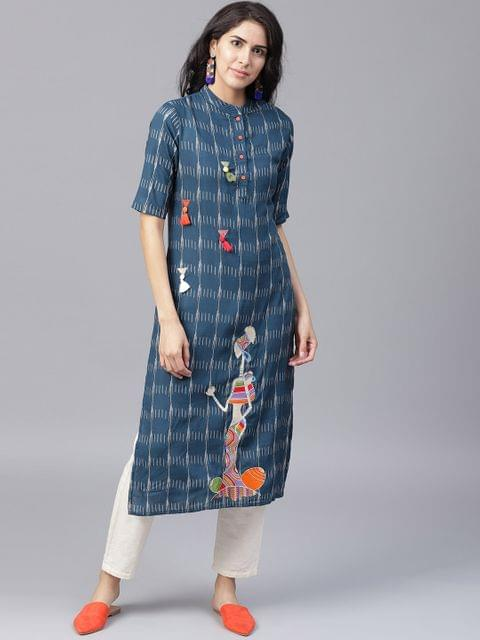 Yufta Women Navy Blue Off-White Printed Straight Kurta
