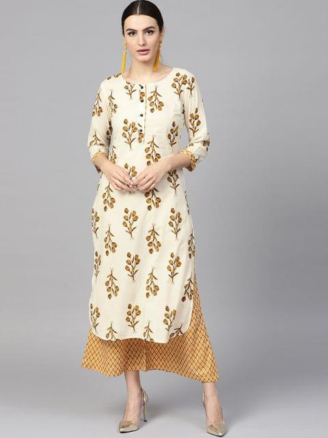 Women Off-White & Mustard Brown Printed Kurta with Palazzos