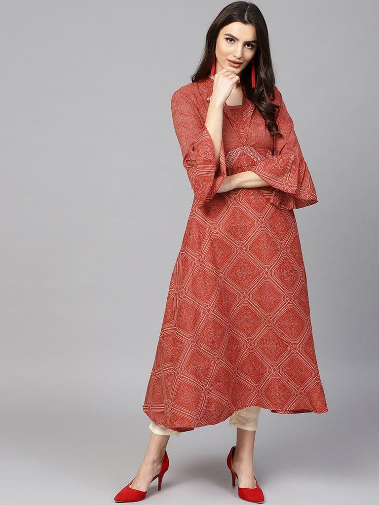 Women Red & Beige Printed A-Line Kurta