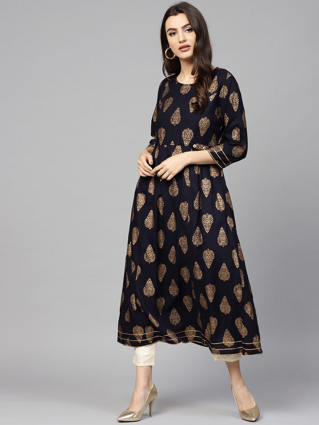 Women Navy Blue & Golden Printed A-Line Kurta