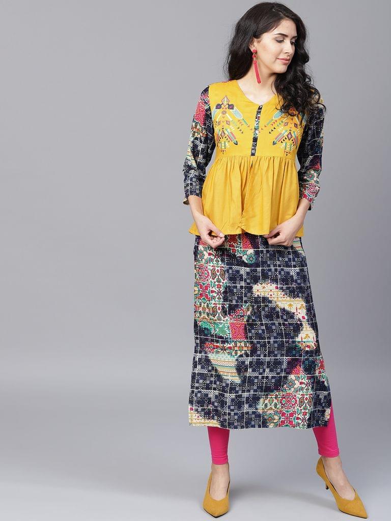 Yufta Women Yellow Navy Blue Printed Layered Straight Kurta
