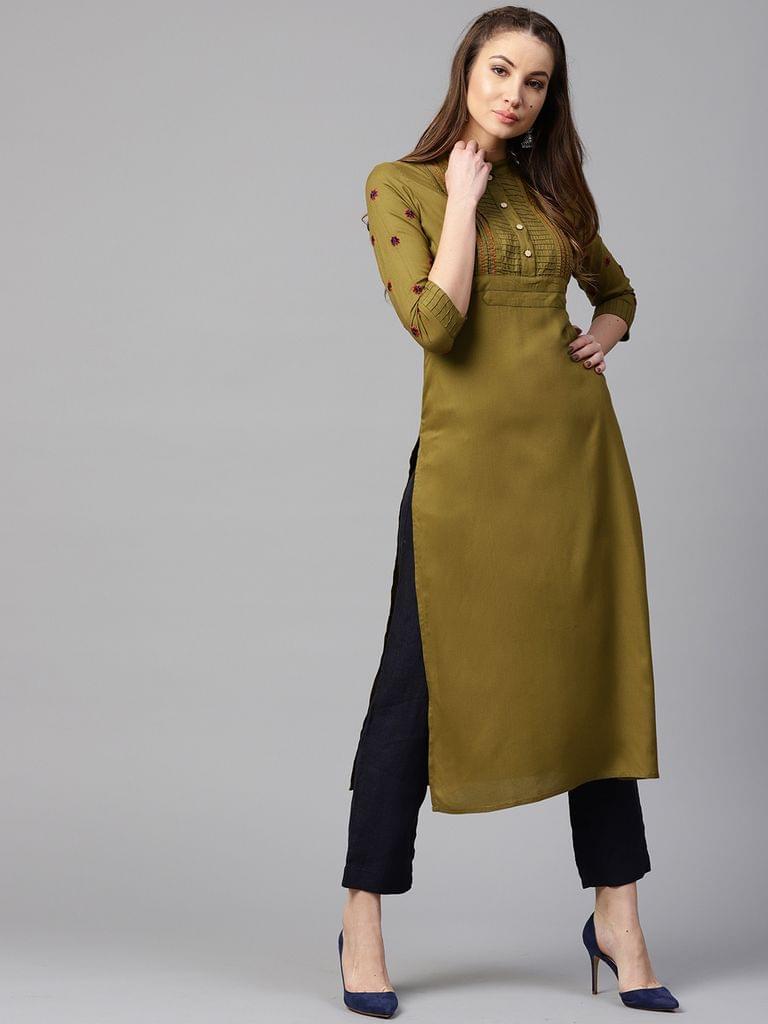 Yufta Women Olive Green Solid Straight Kurta
