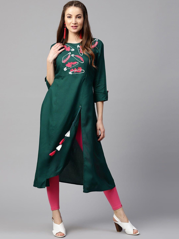 Yufta Women Green Embroidered A-Line Kurta