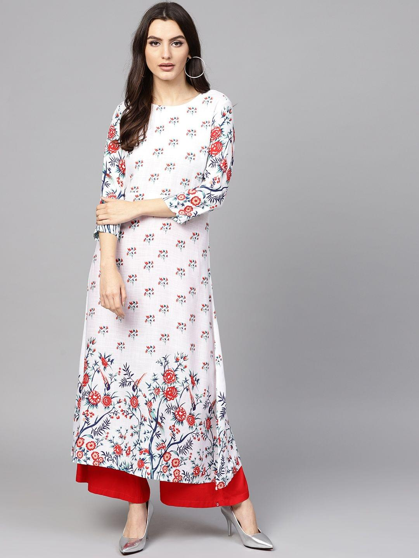 Women White & Red Printed A-Line Kurta