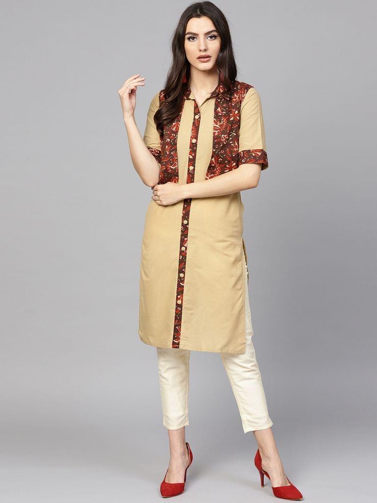 Yufta Women Beige & Rust Brown Solid Straight Kurta with Ethnic Jacket