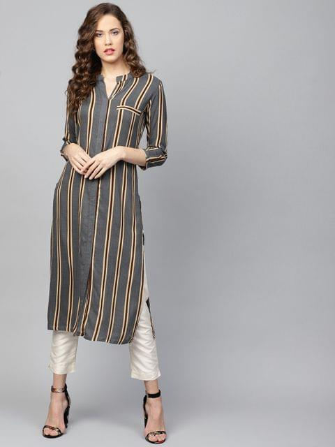 Yufta Women Grey & Beige Striped Straight Kurta