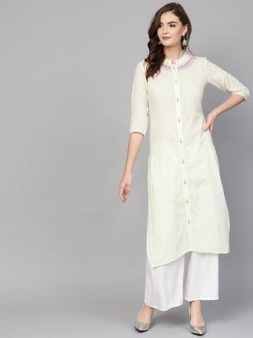 Women Off-White Woven Design Straight Kurta