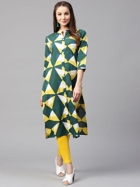 Yufta Women Green & Yellow Printed Straight Kurta