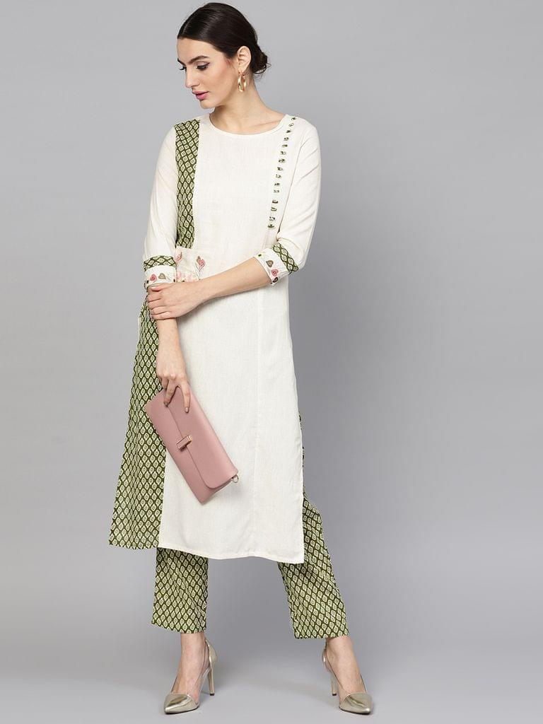 Women Off-White & Olive Green Printed Kurta with Trousers