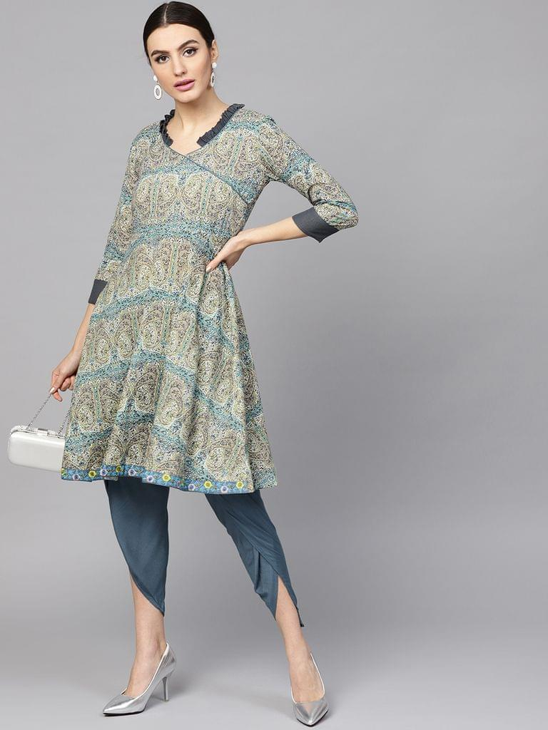 Women Beige & Blue Printed Kurta with Dhoti Pants