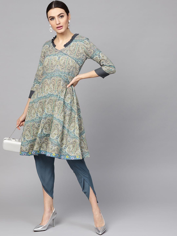 Women Beige & Blue Printed Kurta with Dhoti Pants