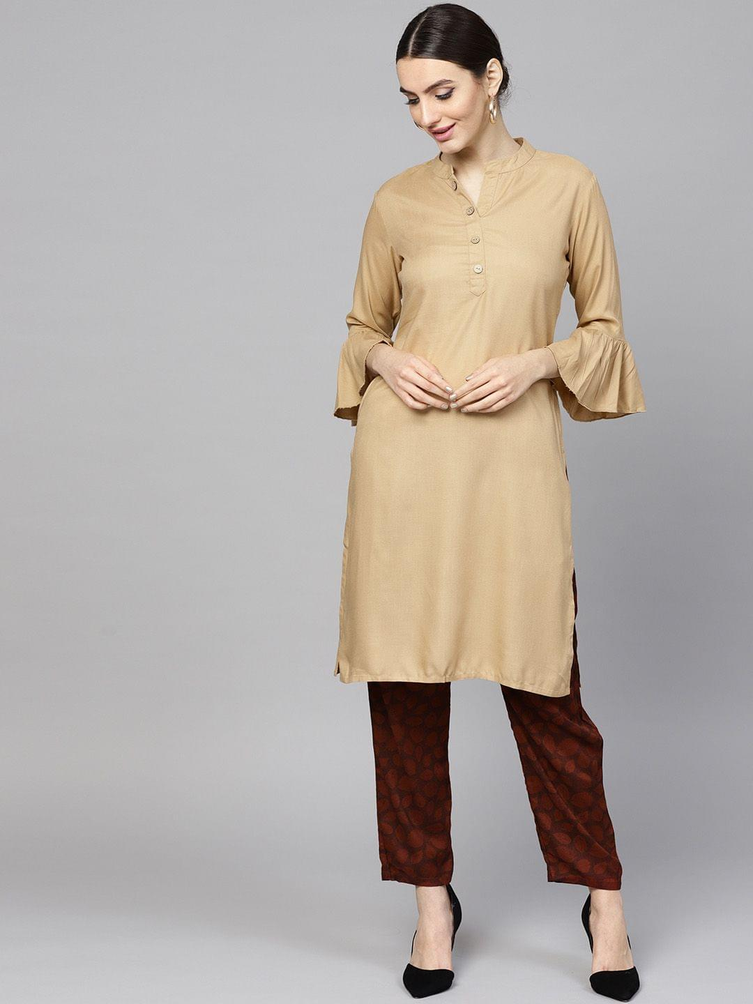 Women Beige & Maroon Solid Kurta with Trousers
