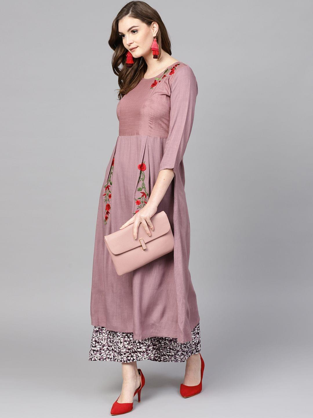 Women Mauve & Black Embroidered Kurta with Palazzos
