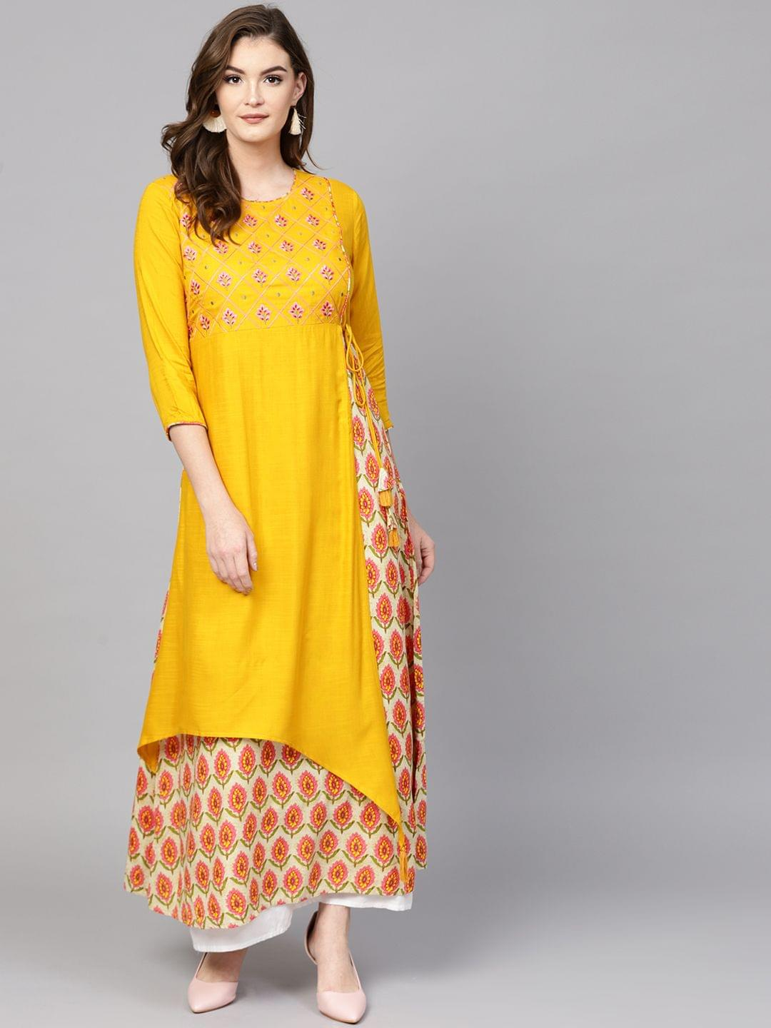 Women Mustard & Pink Embroidered Layered A-Line Kurta