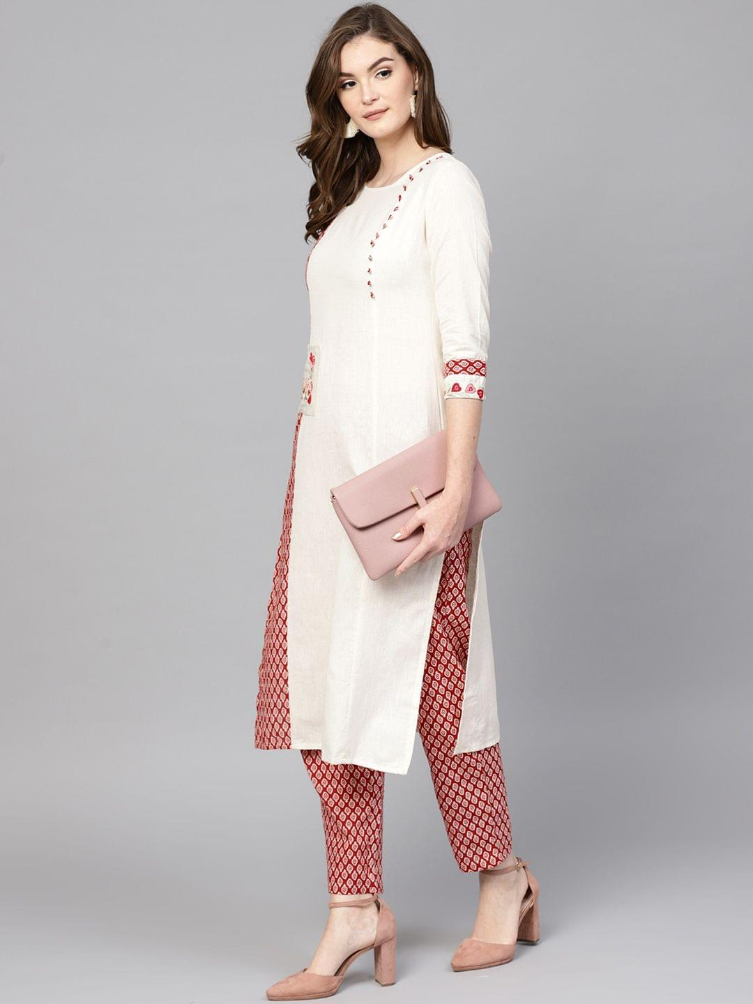 Women Off-White & Red Printed Kurta with Trousers