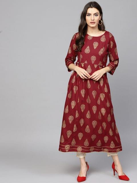 Women Maroon & Golden Printed A-Line Kurta