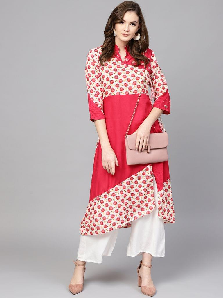 Women Pink & White Printed Straight Kurta
