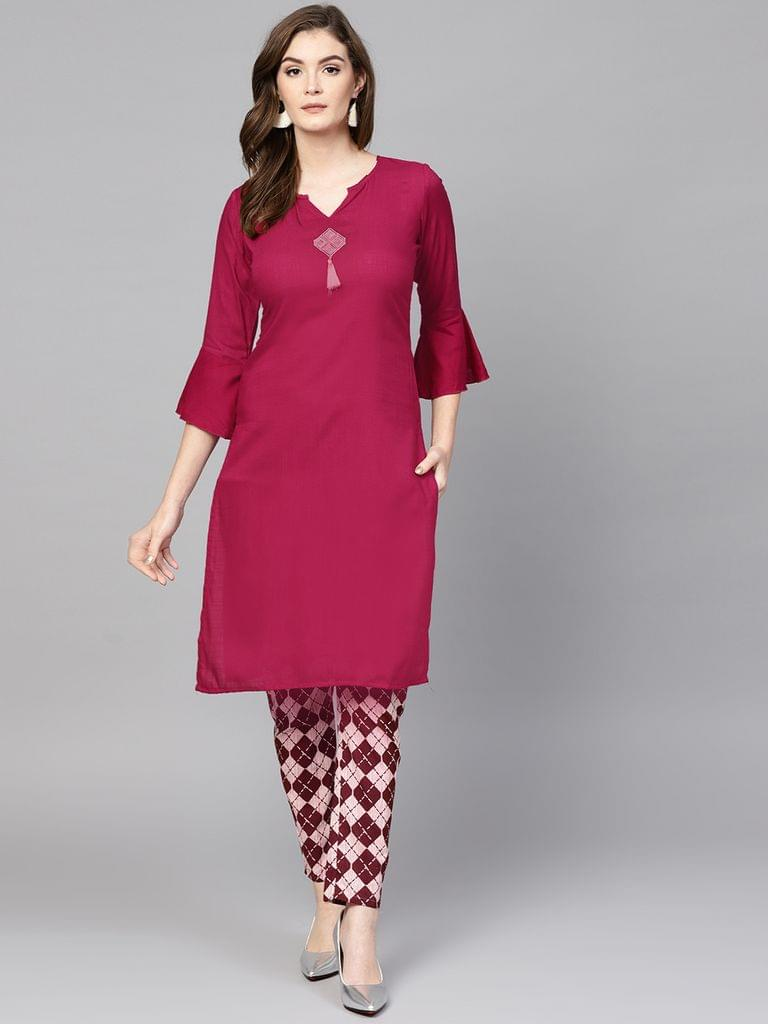 Women Burgundy & White Solid Kurta with Trousers