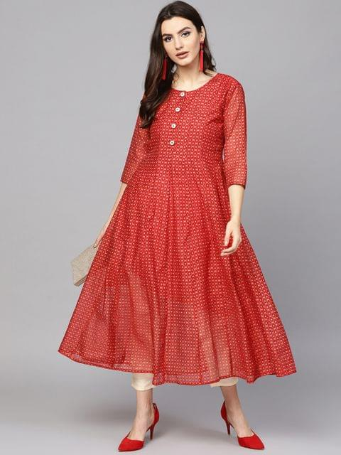 Women Red & Golden Printed A-Line Kurta