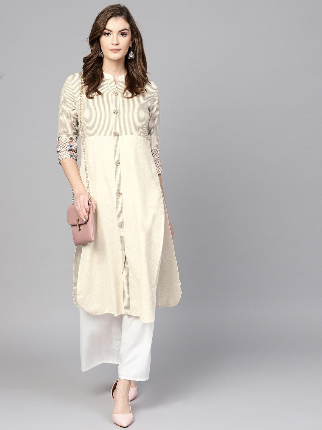 Women Off-White & Beige Striped Straight Kurta