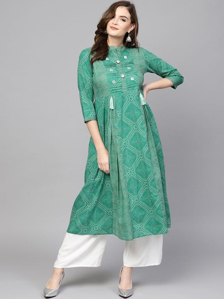 Women Green Printed A-Line Kurta