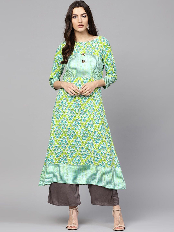 Women Green & Blue Printed A-Line Kurta