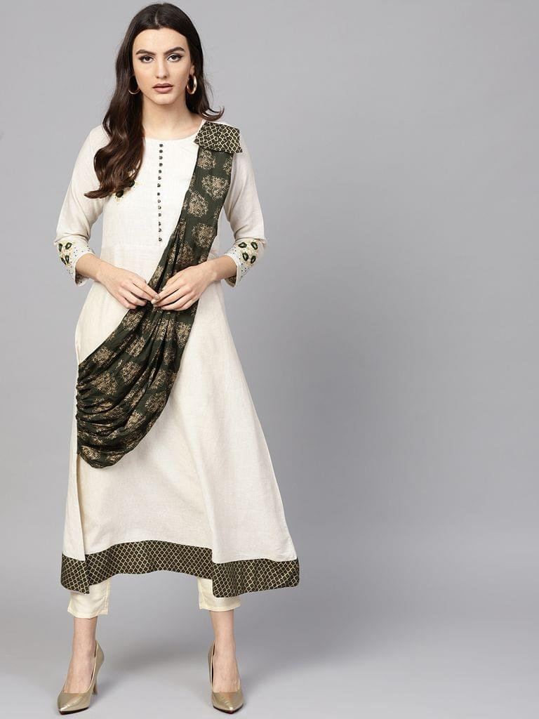 Women Off-White & Green Solid Layered A-Line Kurta