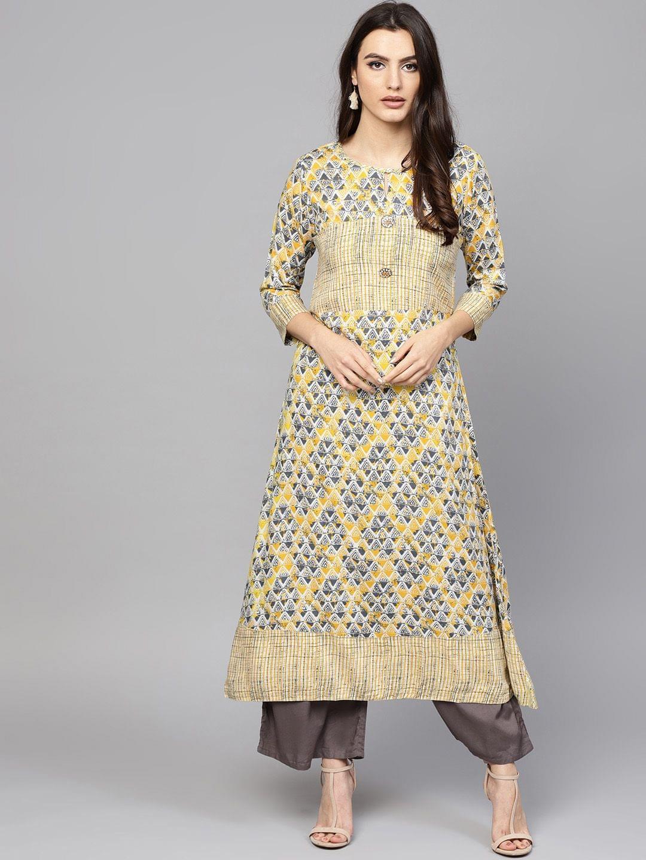 Women Yellow & Grey Printed A-Line Kurta
