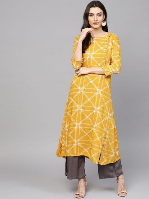 Women Yellow & White Printed A-Line Kurta
