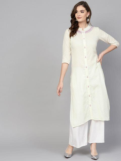 Women Off-White Woven Design Straight Kurta