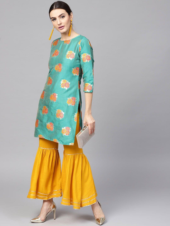 Women Green & Mustard Yellow Self Design Kurta with Sharara