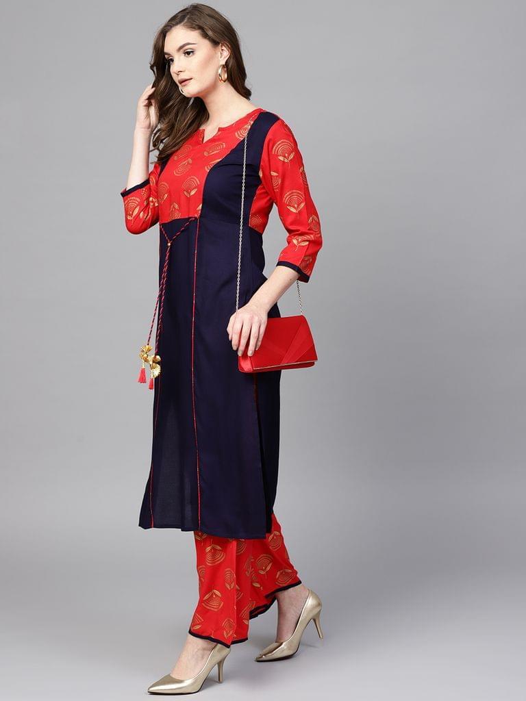 Women Navy Blue & Red Printed Kurta with Palazzos