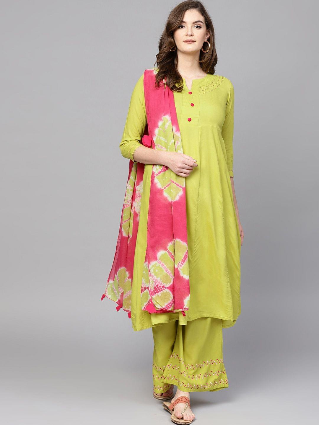 Women Lime Green Solid Kurta with Palazzos & Dupatta