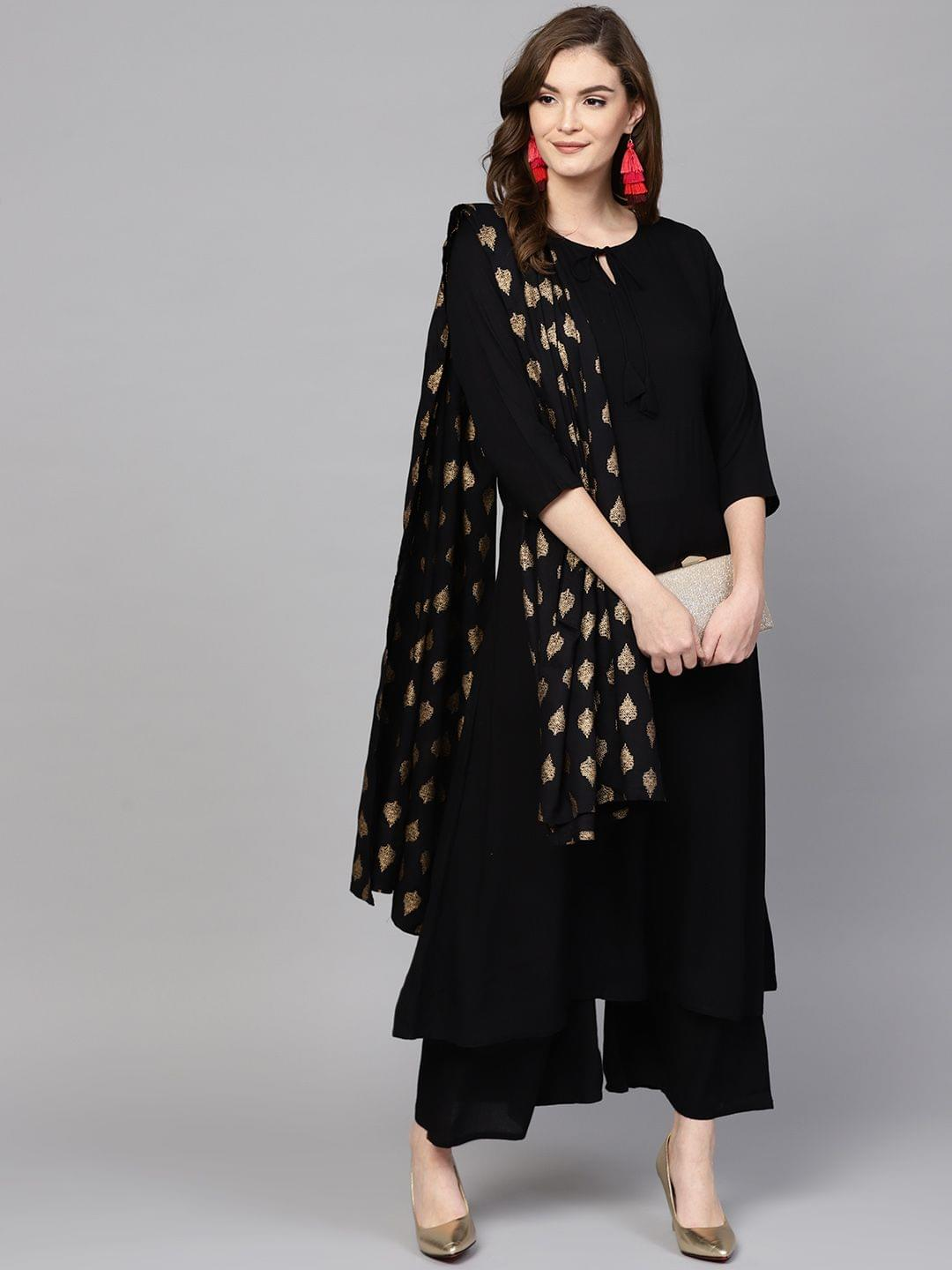Women Beige & Brown Printed Kurta with Palazzos & Dupatta