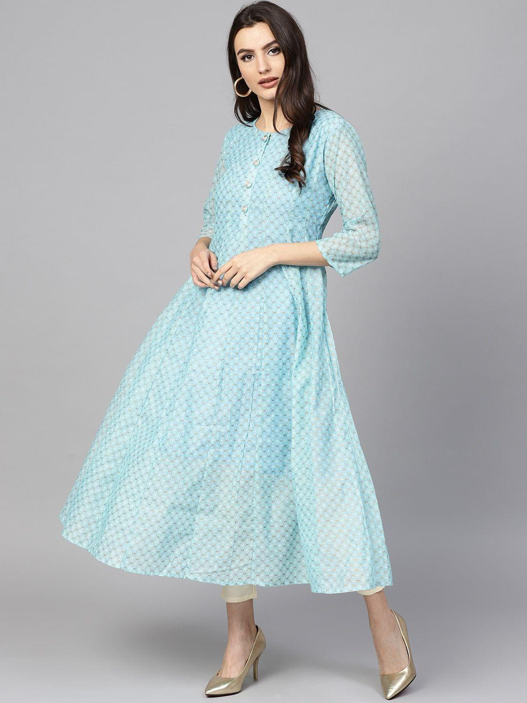 Women Blue Printed Anarkali Kurta