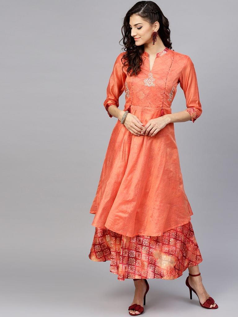 Women Orange Printed Layered Maxi Dress