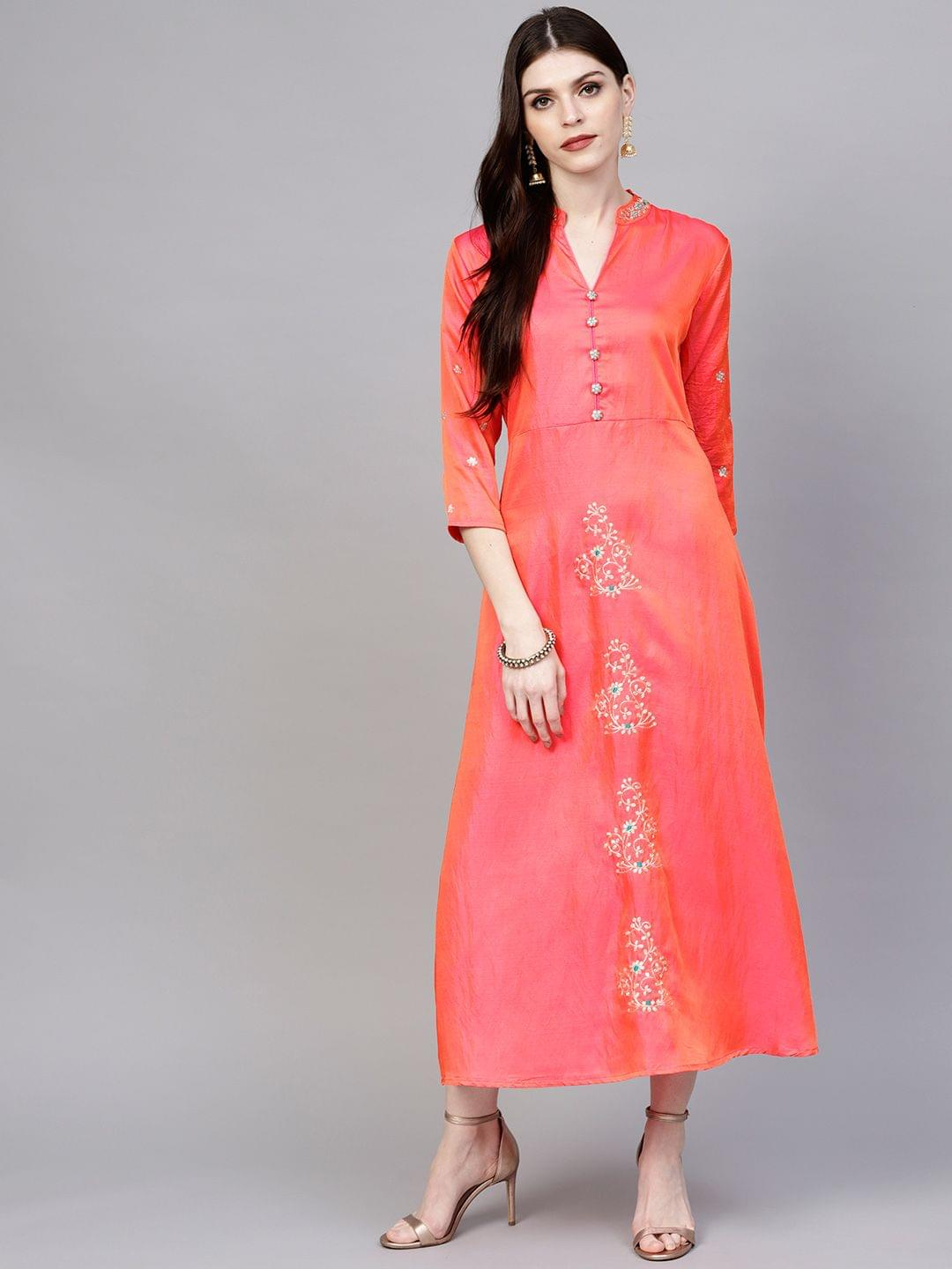 Women Orange & Pink Dual-Toned Maxi Dress with Embroidered Detail