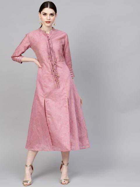 Women Pink Solid Midi A-Line Dress