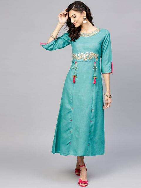 Women Green Solid Maxi Dress with Embroidered Detail