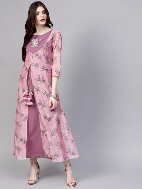 Women Pink Printed Layered Maxi Dress