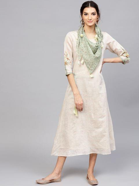 Women Beige Striped A-Line Dress with Scarf