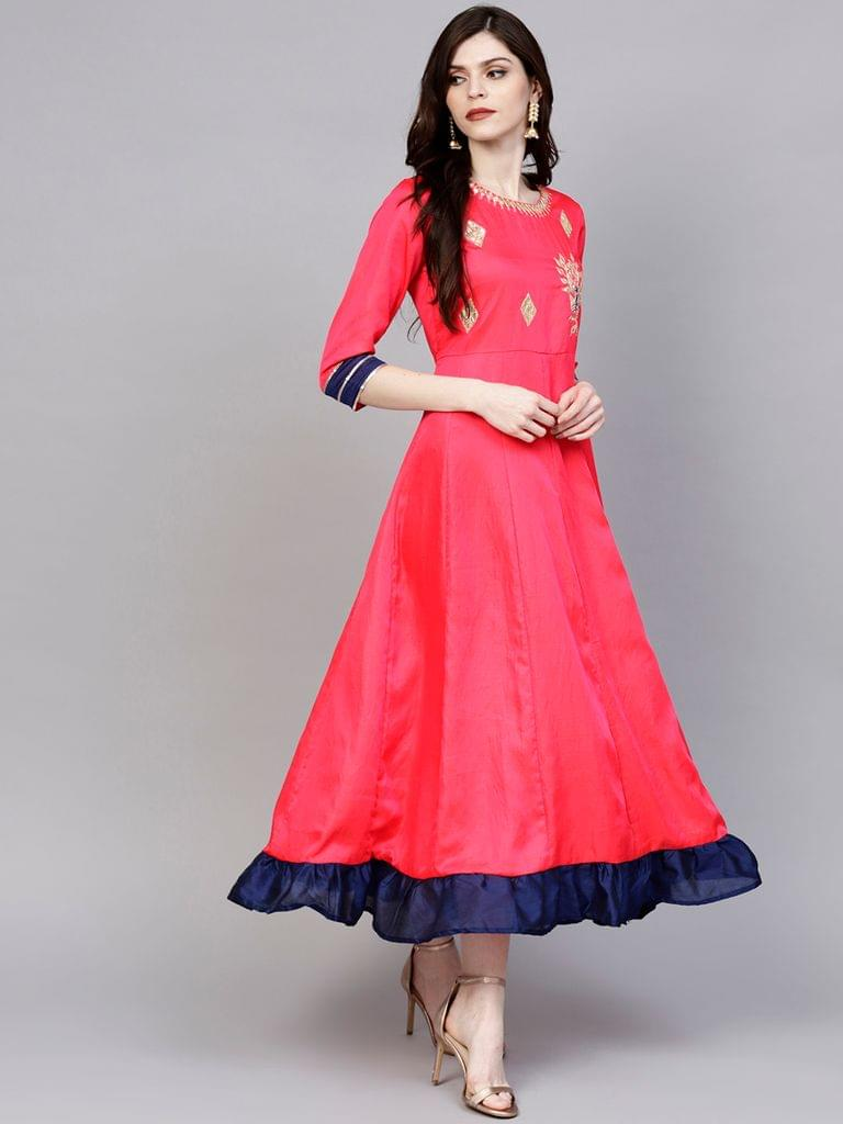 Women Pink Solid Maxi Dress with Embroidered Detail