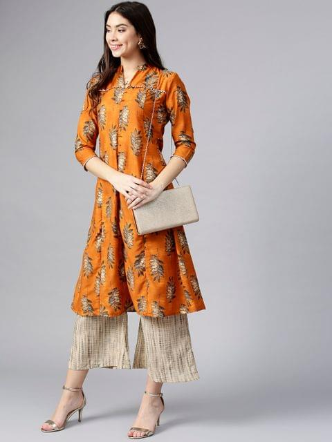 Women Rust Orange & Beige Printed Kurta with Palazzos